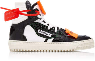 Off-White Appliquéd Paneled Textured-Leather Sneakers