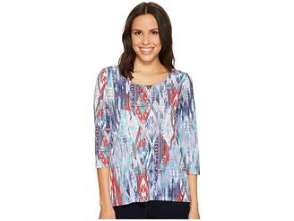 Tribal 3/4 Sleeve Top with Back Detail Women's Short Sleeve Pullover