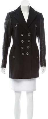 Burberry Leather-Accented Wool Coat