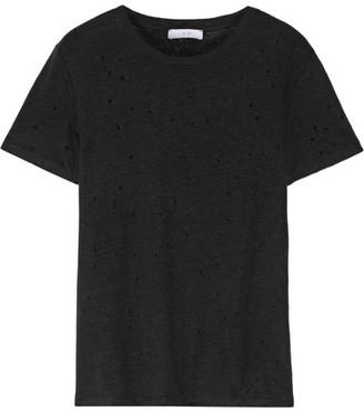 IRO - Distressed Linen-jersey T-shirt - Black $145 thestylecure.com