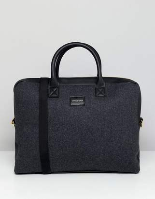 Asos Design Satchel In Charcoal Melton And Black With Internal Laptop Pouch And Faux Leather Straps