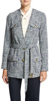 MICHAEL Michael Kors Collarless Tweed Wrap Jacket, New Navy $255 thestylecure.com