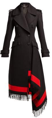 Alexander McQueen Double Breasted Waterfall Hem Striped Coat - Womens - Black Red