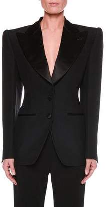 Tom Ford Satin-Lapel Two-Button Jacket with Strong Shoulders