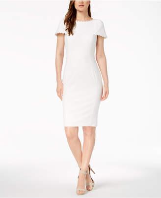 Calvin Klein Daisy-Lace Puff-Sleeve Dress