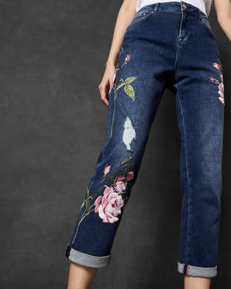 Ted Baker KHLOWE Floral embroidered boyfriend jeans