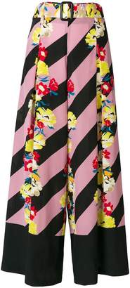 Etro floral striped wide-leg trousers