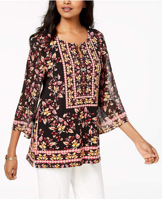 JM Collection Border Printed Keyhole Tunic, Created for Macy's
