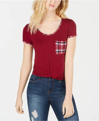 Self Esteem Juniors' Plaid Twist-Front Pocket T-Shirt