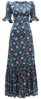 The Vampire's Wife The Night Flight Floral Print Silk Maxi Dress - Womens - Navy Multi