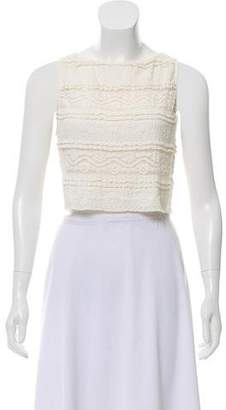Alice + Olivia Lace-Trimmed Cropped Top