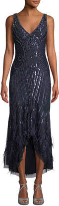 Parker Black Sydney Beaded High-Low Gown Dress w/ Feather Hem