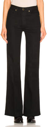 KHAITE Reece Flare Jean in Black   FWRD