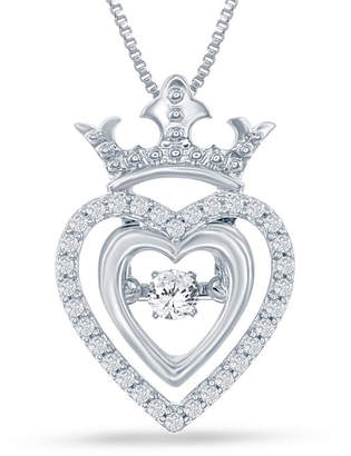 ENCHANTED FINE JEWELRY BY DISNEY Enchanted Disney Fine Jewelry 1/5 C.T. T.W. Silver Heart Disney Princess Crown Pendant Necklace