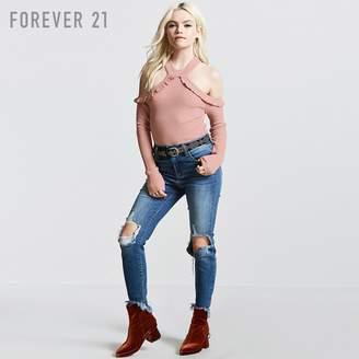 Forever 21 (フォーエバー 21) - Forever 21 フリルオープンショルダーリブニット