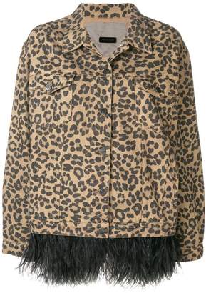 Simonetta Ravizza leopard print feathered denim jacket