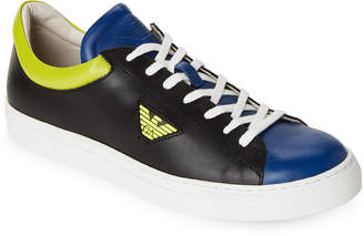 Emporio Armani Color Block Leather Low-Top Sneakers