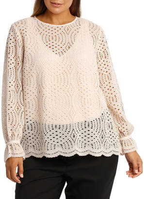 Corded Lace Scalloped Hem Top