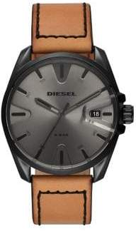 Diesel MS9 Leather-Strap Watch
