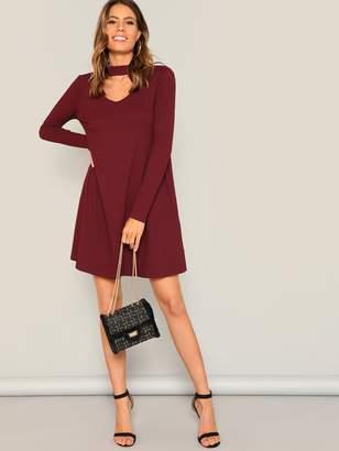 fc0331b124 Shein V Cut Choker Neck Rib-knit Swing Dress