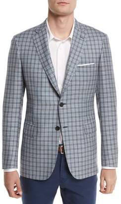 Brioni Check Plaid Two-Button Sport Coat, Light Gray/Blue