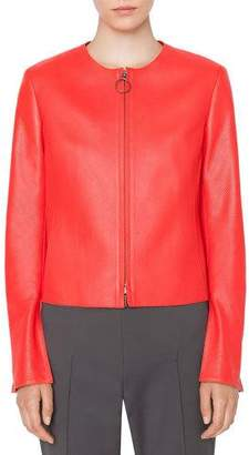 Akris Punto Round-Neck Zip-Front Perforated Napa Leather Jacket