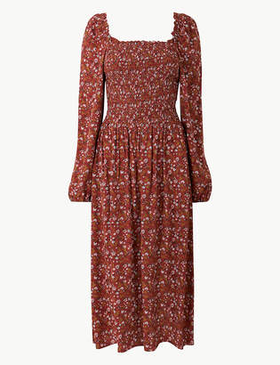 Marks and Spencer Floral Print Long Sleeve Waisted Midi Dress