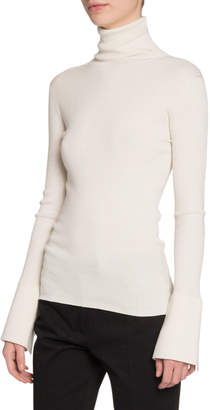 Proenza Schouler Silk-Cashmere Flare-Sleeve Turtleneck Sweater