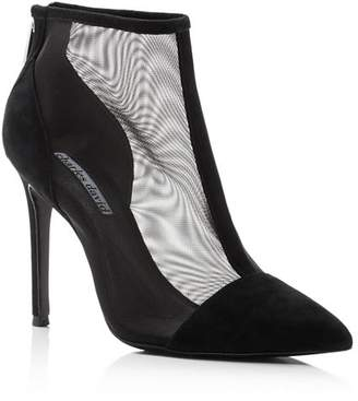 Charles David Women's Cashmere Pointed Toe Suede & Mesh High-Heel Ankle Booties