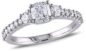 HBC CONCERTO 14K White Gold Cushion and Round 1.2 Total Carat Weight Diamonds Engagement Ring