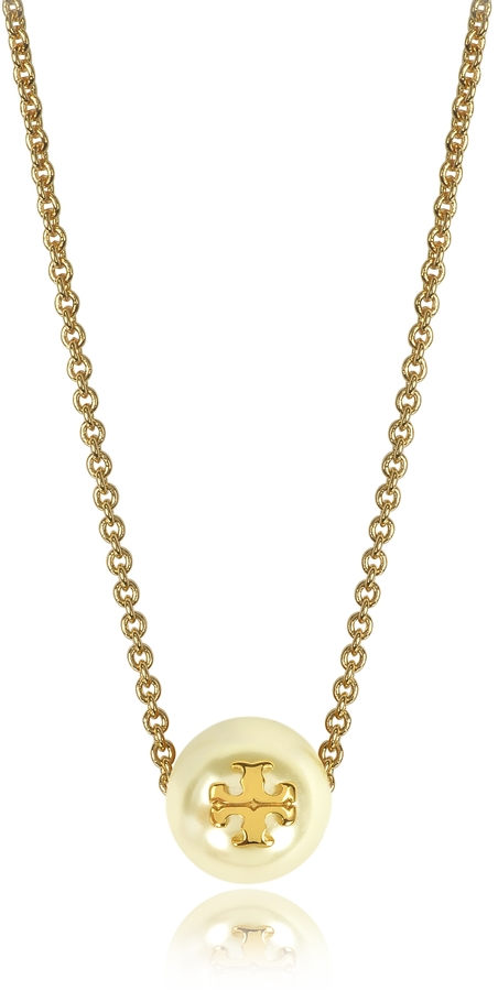 Tory BurchTory Burch Ivory Crystal Pearl Goldtone Brass Chain Necklace