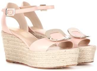 Roger Vivier Chips leather espadrille wedge sandals
