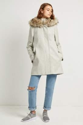 French Connenction Platform Felt Faux Fur Hooded Coat
