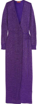 Missoni Metallic Stretch-knit Wrap Maxi Dress - Purple