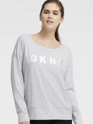DKNY Long-Sleeve Foil Logo Tee