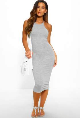 Pink Boutique Perfect To Me Grey Double Layer Jersey Midi Dress