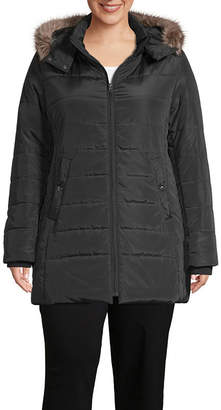 ST. JOHN'S BAY Woven Heavyweight Puffer Jacket-Plus