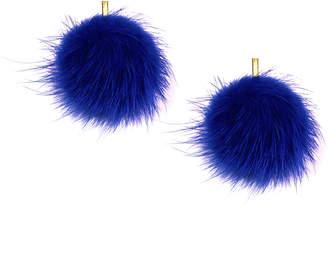 "Tuleste 2"" Cobalt Mink Pom Pom Stud Earrings"