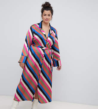 Neon Rose Plus midaxi shirt dress in luxe stripe