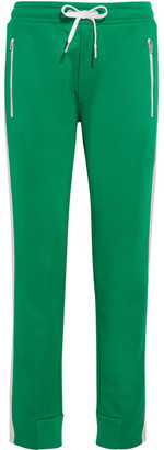 rag & bone - Mika Satin-trimmed Jersey Track Pants - Green $250 thestylecure.com