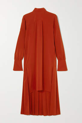 Chloé Asymmetric Pleated Silk Crepe De Chine Dress - Red