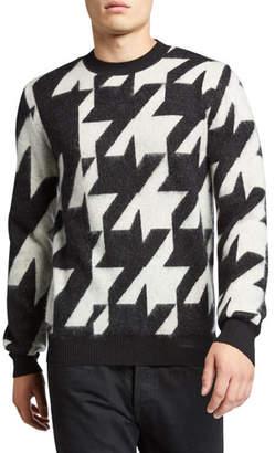 Alexander McQueen Men's Oversized Houndstooth Crewneck Mohair Sweater