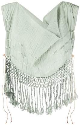 Caravana draped cowl neck fringe top