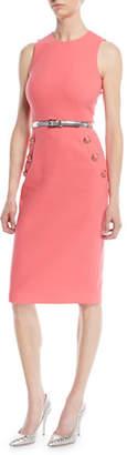 Michael Kors Sleeveless Stretch-Boucle Crepe Sheath Dress w/ Belt
