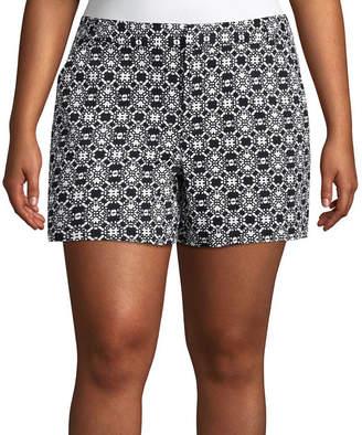 Boutique + + 5 Geometric Twill Shorts - Plus