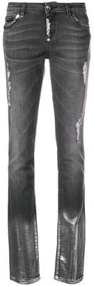 Philipp Plein ripped washed slim jeans