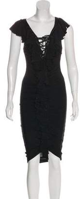 Just Cavalli Ruffle-Trimmed Bodycon Dress