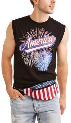 Americana Fireworks Men's Graphic T-shirt Combo With Fanny Pack
