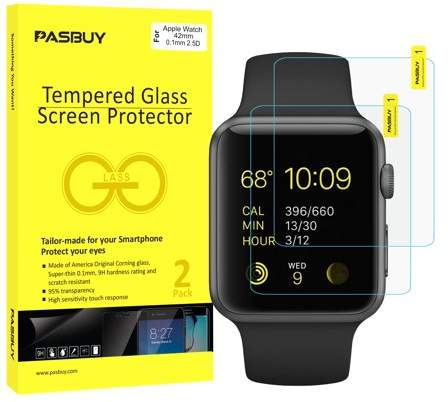 PASBUY 2 Pack [ America Glass ] Super thin 0.1mm Premium Tempered Glass Film Screen Protector-Retail packing for Apple Watch 42mm