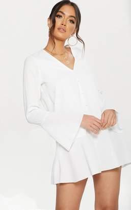 PrettyLittleThing White Button Frill Hem Shift Dress